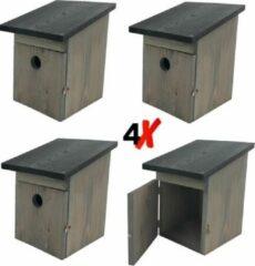Grijze Garden Spirit - 4x Ruim Vogelhuisje voor Koolmees - Nestkast - 21 x 19 x 25 cm. - met Vogelvoer