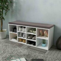 Merkloos / Sans marque Schoenenbank 10 compartimenten wit