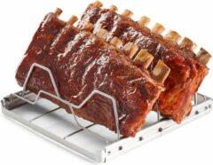 Zilveren Orange85 Rib Grill Rek Houder - Voor de BBQ - RVS - Inklapbaar