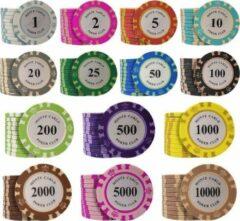 KortingCamera.NL 50 stuk Professionele Upscale Klei Casino Texas Poker Chips 14G waarde 1 2 5 10 20