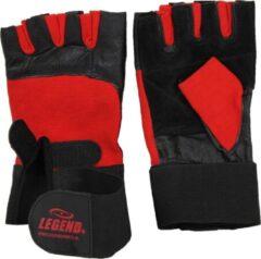 Legend Sports Fitness Handschoenen Leder Zwart/rood Legend Maat L