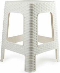 Forte Plastics Rotan opstapje/krukje in het wit - 36 x 36 x 45 cm - Keuken/badkamer/slaapkamer handige krukjes/opstapjes