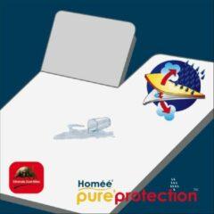 Witte Homéé® Splittopper Molton flanel hoeslaken 220g. p/m2 PU waterdicht 180x210/220cm 100% geruwd katoen
