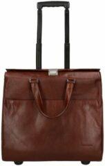 "Bruine Claudio Ferrici Legacy Business Trolley 15.6"" brown Zachte koffer"
