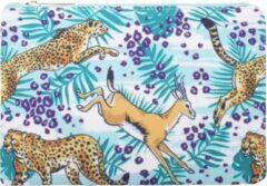Lichtblauwe Yehwang Trendy Make-up / clutch tasje met een safariprint - van binnen gevoerd en een ruim vak - het handige tasje wordt afgesloten met een rits - voor uzelf of Bestel Een Kado