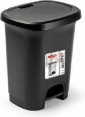 Forte Plastics Kunststof afvalemmers/vuilnisemmers/pedaalemmers in het zwart van 8 liter met deksel en pedaal. 25 x 21 x 30 cm.