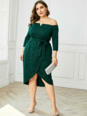 Donkergroene YOINS Asymmetrical Sequins Party Dress