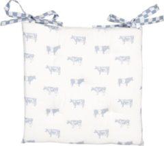 Clayre & Eef | Kussen met foam 40*40 cm | Blauw | 100% Katoen | Vierkant | Koeien | LWC29BL