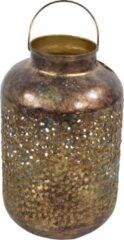 Goudkleurige Lesliliving Vintage lantaarn/windlicht metaal goud grof 32 cm - Oosterse stijl - Antieke uitstraling