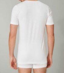 Witte Schiesser T-shirt van biologisch katoen met V-hals in 2-pack