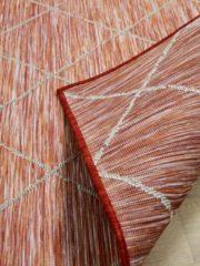 In & Outdoor Teppich Beidseitig Flachgewebe Hampton Karo Terrakotta Pergamon Orange