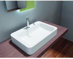 Witte Cross Tone Solid surface opbouwwastafel B60xD41.5xH10.5cm rechthoek zonder waste wit mat CTS-2062