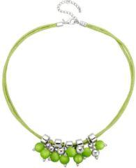 Groene Klingel Collier met kralen groen