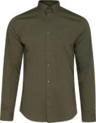 Donkergroene WE Fashion Heren slim fit overhemd met stretch - Maat XL