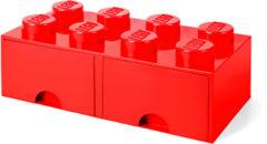 Rode LEGO Storage 8 Knob Brick - 2 Drawers (Bright Red)
