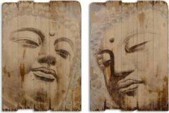 Bruine Trendybywave Wanddecoratie - Boeddha - Vintage prints op hout - 50 cm breed