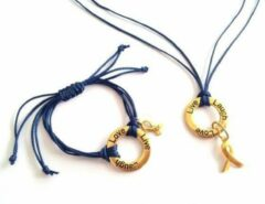 Jewellicious Designs Laugh Live Love ketting & armband goud met donkerblauw glanzend koord voor Pink Ribbon