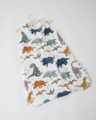 Witte Little Unicorn Cotton Muslin slaapzak Dino Friends - maat Large