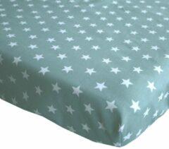 BINK Bedding Hoeslaken Stars Olijf 1 persoonsbed 90 x 200 cm