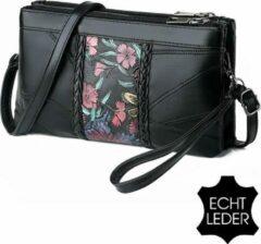 Allernieuwste ECHT LEDER Damestas Bloemen Print 1 - Luxe Zacht Leren Crossbody Handtas - Zwarte Schoudertas - Clutch - 23 x 14 cm