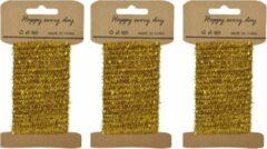Goudkleurige Decoris 3x stuks goud lametta lint ijzerdraad op rol 200 cm - Hobby ijzerdraad goud - Kerstartikelen