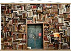 Bruine KuijsFotoprint Schoolplaat – Overvolle Boekenkast met Deur in het Midden - 150x100cm Foto op Textielposter (Wanddecoratie op Schoolplaat)