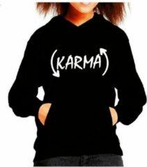 Zwarte Fruit of the Loom Hoodie sweater | Karma | Black | Maat 140 (9-11jaar)