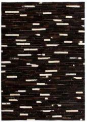 VidaXL Vloerkleed streep patchwork 120x170 cm echt leer zwart/wit