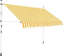 VidaXL Luifel handmatig uitschuifbaar 250 cm geel en witte strepen