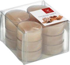 Paarse Trend Candles 12x Geurtheelichtjes peperkoekjes/beige 4 branduren - Geurkaarsen peperkoekjesgeur/gingerbread poppetjes geur - Waxinelichtjes