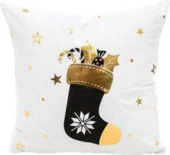 By Vicky Cadeau tip - Kerst kussenhoes - kerst kussen - wit met goud/zwarte sok