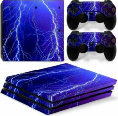 Paarse Merkloos / Sans marque PS4 Pro Sticker Thunder - PS4 Pro Onweer Skin Sticker - 1 Console Skin + 2 Controller Skins