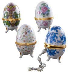 4er Porzellaneier Fabergé-Stil GD Import Bunt
