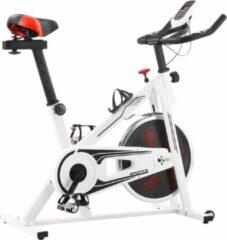 VidaXL Spinningfiets met hartslagsensoren wit en rood