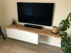 Zandkleurige Colibri Oak Eiken houten alleen tv-meubelblad zonder kast BeGo 42 cm diep x 180 cm lang wandplank Colibri ptmd