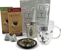 Teastreet   Koffie & Thee cadeau   Theeglas met rvs theefilter   biologische koffiecups   losse blad thee