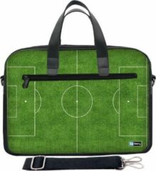 Groene Laptoptas 17,3 inch / schoudertas voetbalveld - Sleevy - laptoptas - schooltas