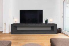 Zwarte Betonlook TV-Meubel open vak | Black Steel | 180x40x40 cm (LxBxH) | Betonlook Fabriek | Beton ciré