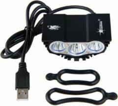 Zwarte SolarStorm X3 USB MTB/race LED koplamp EXTREEM veel licht met 3x CREE T6 LED - USB aansluiting - (losse lamp zonder voeding)