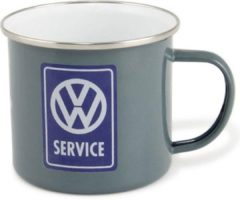VW Collection - VW T1 Bus Becher Emailliert - Mok maat 500 ml, grijs/wit