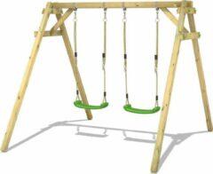 WICKEY Schommel, Speeltoestel Smart Move appelgroen met Klimaanbouw, Houten schommel, Kinderschommel