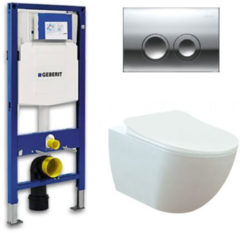 Douche Concurrent Geberit UP 100 toiletset - Inbouw WC Wandcloset - Creavit Mat Wit Rimfree Geberit Delta-21 Glans Chroom