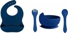 Marineblauwe Ricama Siliconen kinderservies navy | siliconen slab + siliconen kom met lepel | slabbetje | kom met lepel | slab met opvangbak | donkerblauw | jongens en meisjes | baby en kind | eten en drinken | 100% vrij van schadelijke stoffen | waterafs