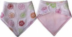 Toetie & Zo Handgemaakte Slabber Pink Flowers - Slabbetje - Slab - Bandana - Spuugdoek - Baby - Kraamkado - Roze