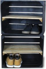 Steigerhoutpassie Fruitkist - Nieuw -Zwart - Set van 2 - Legplank Bruin Lang - 50x30x40cm