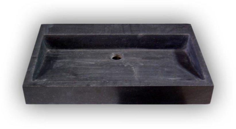 Afbeelding van Douche Concurrent Wastafel Opbouw Dieplot Rechthoek 70x45x10cm Limestone Blue Limestone Zonder Kraangat