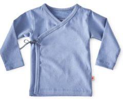 Donkerblauwe Little Label - baby - overslagshirtje - blauw - maat 62 - bio-katoen