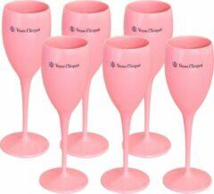6x Veuve Clicquot champagneglazen (roze)
