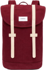 Bordeauxrode Sandqvist Stig Rugzak Burgundy - Duurzaam Canvas - Bordeaux 14 liter