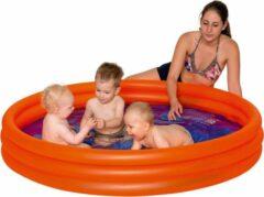 Merkloos / Sans marque Oranje opblaasbaar zwembad 157 x 28 cm speelgoed - Rond zwembadje - Pierenbadje - Buitenspeelgoed voor kinderen